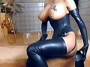 oiled,tattoo,boots,bathroom,latex