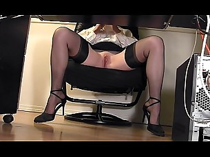 stockings,masturbation,high heels,secretary,voyeur